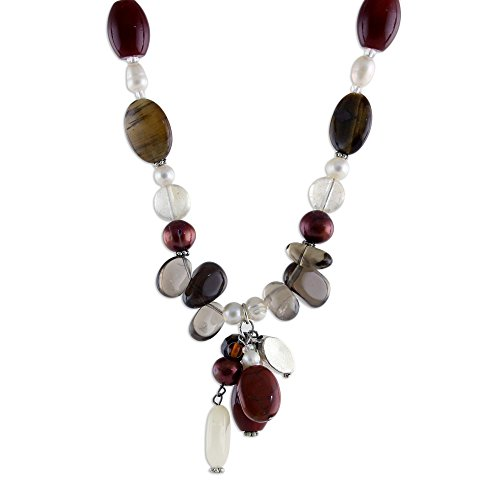 NOVICA Multi-Gem Cultured Freshwater Pearl .925 Sterling Silver Beaded Necklace 'Sun Goddess'