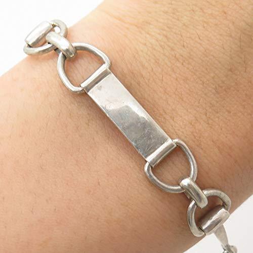 - 925 Sterling Silver Horse Bit Good Luck Link Bracelet 7 1/4