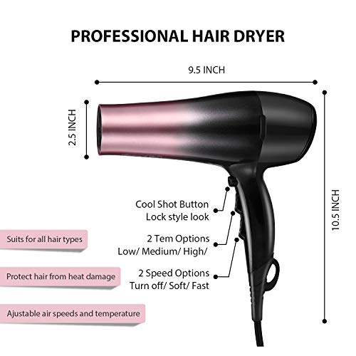 KIPOZI 1875W Ionic Hair Dryer, Professional Powerful Fast Dry Blow Dryer, Lightweight and Quiet Salon Hairdryer- with Diffuser and Concentrator Attachments, Adjustable Heat & Speed, Rose Pink