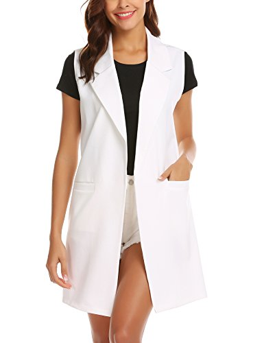 Sleeveless Duster Trench Vest Casual Lapel Blazer Jacket Pure White XL ()