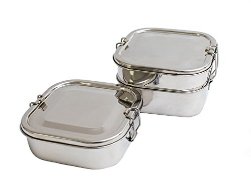 Stainless Steel Bento Lunch Box Containers by Ethneecity |Kid & Eco friendly | Plastic & BPA free | Dishwasher safe (2 Compartment )