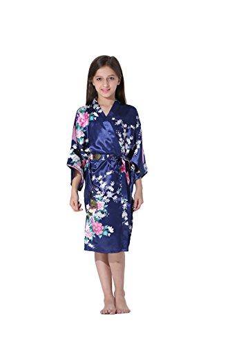 Vogue Forefront Girls' Peacock&Flower Print Satin Kimono Robe Bathrobe, Size 4, Navy Blue