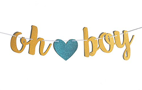 Fecedy Gold Glittery OH BOY Banner with Heart for Baby shower (Decoration Baby Shower Boy)