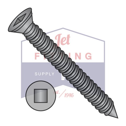 6-18 x 1 1/4 Square Drive Trim Head Drywall Screw Fine Thread Black Phosphate (QUANTITY: 10000 pcs) by Jet Fitting & Supply Corp (Image #1)