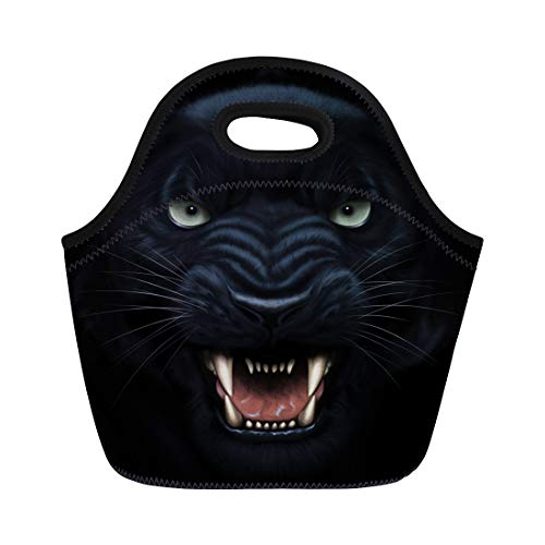 Semtomn Neoprene Lunch Tote Bag Black Angry Panther Face in Darkness Digital Painting Fierce Reusable Cooler Bags Insulated Thermal Picnic Handbag for Travel,School,Outdoors, Work ()