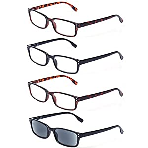 READING GLASSES 4 Pack Spring Hinge Comfort Readers Plastic Includes Sun Readers (2Tortoise 1Black 1Gray Lens, 0.50)