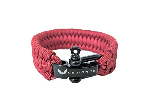 Legion Co. | Survival Paracord Bracelet | Trilobite Boa Weave | Forged U-Type Shackle Connection Three-Way Adjustable | Premium 550 Paracord (Maroon Red)