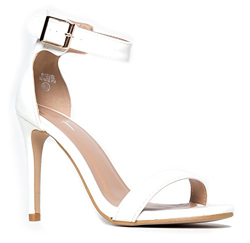White High Heel Sandals (Ankle Strap High Heel Strappy Sandal - Dress Wedding Shoe - Sexy Comfortable Pump - Marvel by J Adams)