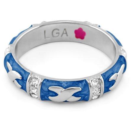 Lauren G Adams Rhodium-Plated Stackable Elegant Hugs Ring with Blue Enamel
