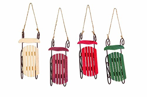 Christmas Holiday Wooden Sleigh Ornament - 4 PACK Assorted Colors, 5.5