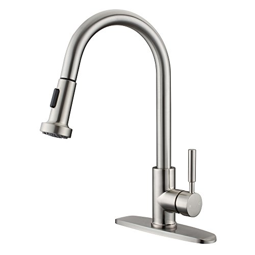 Brushed Nickel Stainless Steel Kitchen Faucet with Pull Out Sprayer, Lichamp 16 inch High Arch Sink Faucet Fixture with Pull Down Sprayer, Single Handle RV Farmhouse Faucet with Deck (Farmhouse Faucet Pull)
