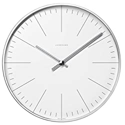 Max Bill clock.30cm diam. Stainless steel case. Quartz movement. Mineral glass face with marker bars.