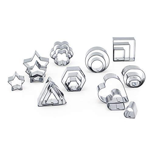 LetGoShop Mini Cookie Cutters, Stainless Steel 24 Pieces Biscuit Cutters Include Star Shape, Heart Shape, Flowers Shape and Geometric Shape Pastry Cutter Mousse Cake Molds