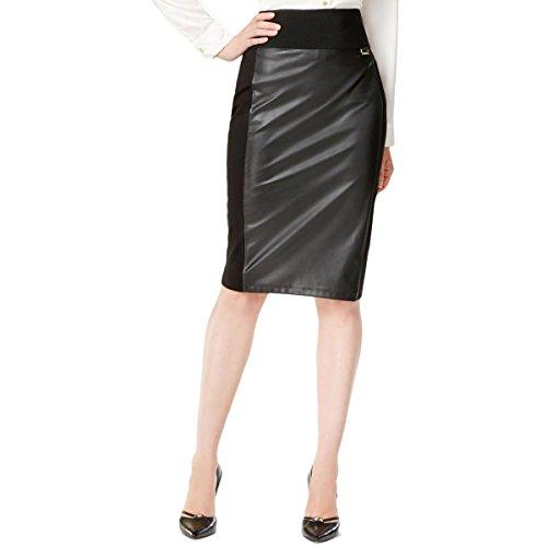 Calvin Klein Womens Skirt - Calvin Klein Women's Essential Power Stretch Pleather Front Skirt, Black, Small