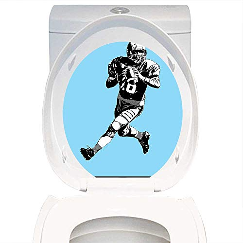 Qianhe-Home Toilet Seat Wall Stickers Paper Sports Decor American Football League Game Rugby Player Run Original Kitsch Retro Illustration Blue Black White. Decals DIY Decoration W6 x L8 from Qianhe-Home