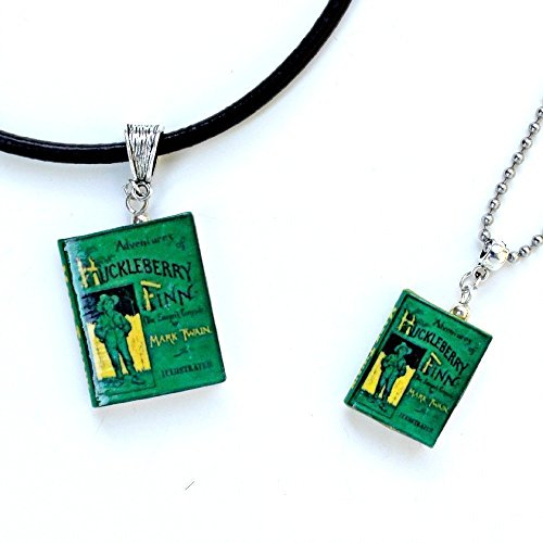 [The Adventures of HUCKLEBERRY FINN Polymer Clay Mini Book Pendant Necklace by Book Beads Choose Your Necklace Type] (Super Nerdy Costume)