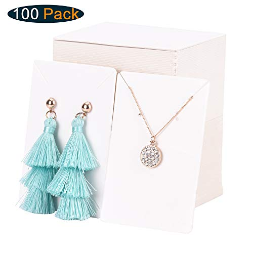 Xpurc 100 Set Kraft Paper Display Earring Cards with 100 Pcs Self-Seal Bags for Jewelry, Earring and Necklace, Ear Studs Holder Blank Paper Tags for DIY, 3.5'' x 2.4''(White)