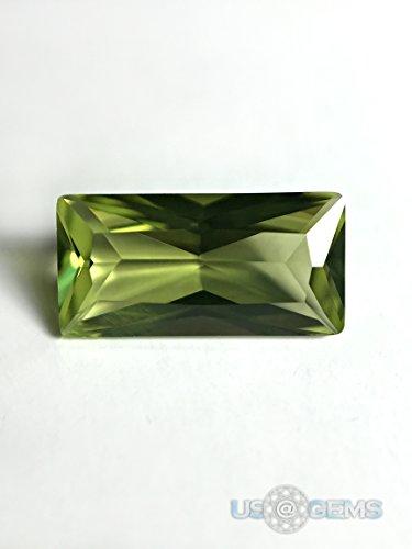 Peridot Light #152. Baguette 10x5 mm. 1,4 ct. SIAMITE Created Loose Gemstone. US@GEMS ()