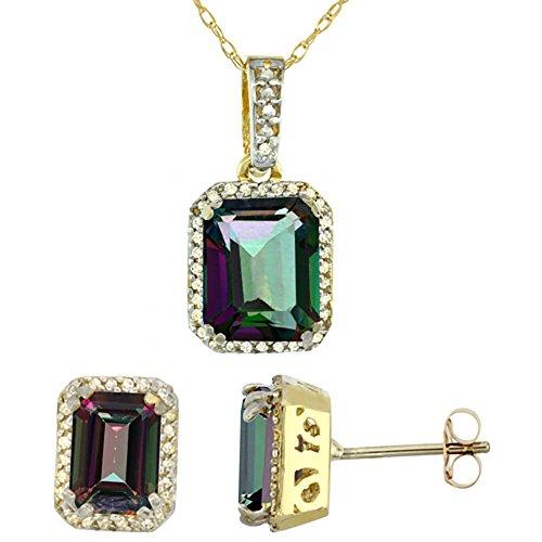 Or jaune 9Ct naturel octogone Mystic Topaze Boucles d'oreilles et pendentif Set Accents de diamant