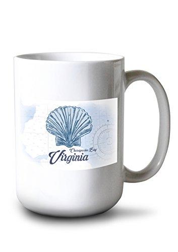 Lantern Press Chesapeake Bay, Virginia - Scallop Shell - Blue - Coastal Icon (15oz White Ceramic Mug)