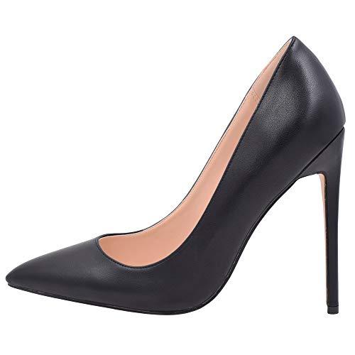 (Lovirs Womens Matte Black Pointed Toe High Heel Slip On Stiletto Pumps Wedding Party Basic Shoes 7 M US)