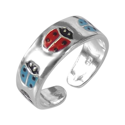 Red-Blue Beetle or Lady Bug .925 Sterling Silver Toe Ring or Pinky Ring