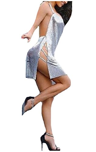 Comfy-Women Sexy Clubwear Split Draped Short Mini Halter Dresses Silver (Halter Draped Mini)