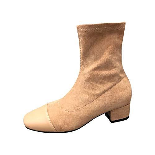 KOKQSX-Medias Botas paño Gamuza Grueso Tacon Botas Cortas Medianas y 4cm Botas de Mujer. 35 alminque. 39 apricot color