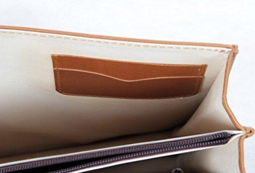HANDMACHER Aktentasche aus Kalbs-Leder, Farbe Antik für Damen und Herren Arbeitstasche mit Schloss - Dokumententasche 37x29 cm