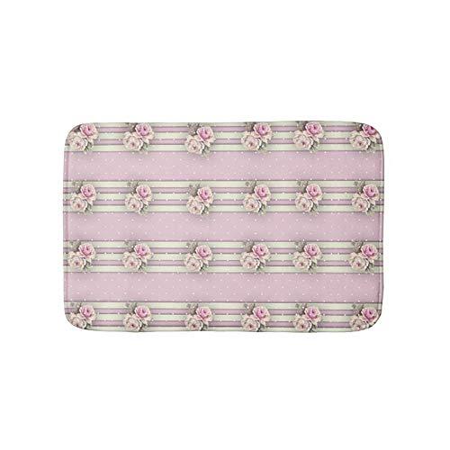 (Victorian Pink Roses White Ecru Dots & Borders Non-Slip Bathroom Mat Doormat Coral Fleece Kitchen Floor Rug Front Door Mat Funny Flannel Carpet 23.6