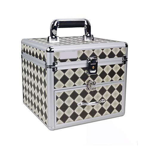 SXND Makeup Train Case Box Plaid With Mirror Lock Pro Aluminum Cosmetic Organizer Cosmetic Bag Brush Organizer and Storage Adjustable 2 Layers Medium - Plaid Train