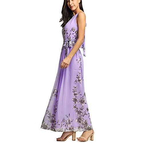 Afoxsos Women Floral Print Maxi Dress Bohemia Halter Neck Chiffon Casual Dress at Amazon Womens Clothing store: