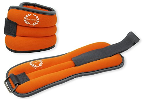 DA VINCI Adjustable Ankle or Wrist Weights Sold in Pairs (Orange)