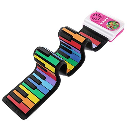 37 Keys Standard Flexible Roll-Up Electronic Piano Rainbow Keyboard With Loud Speaker IWORD Portable Electronic Piano Toy Gift For Kids (Pink)