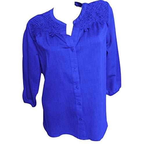Solide Dentelle Bleu Trois Plus Chemise Pissure Femmes Taille La Top Chemisier Tunique Lolittas Quarts 1qnt5O