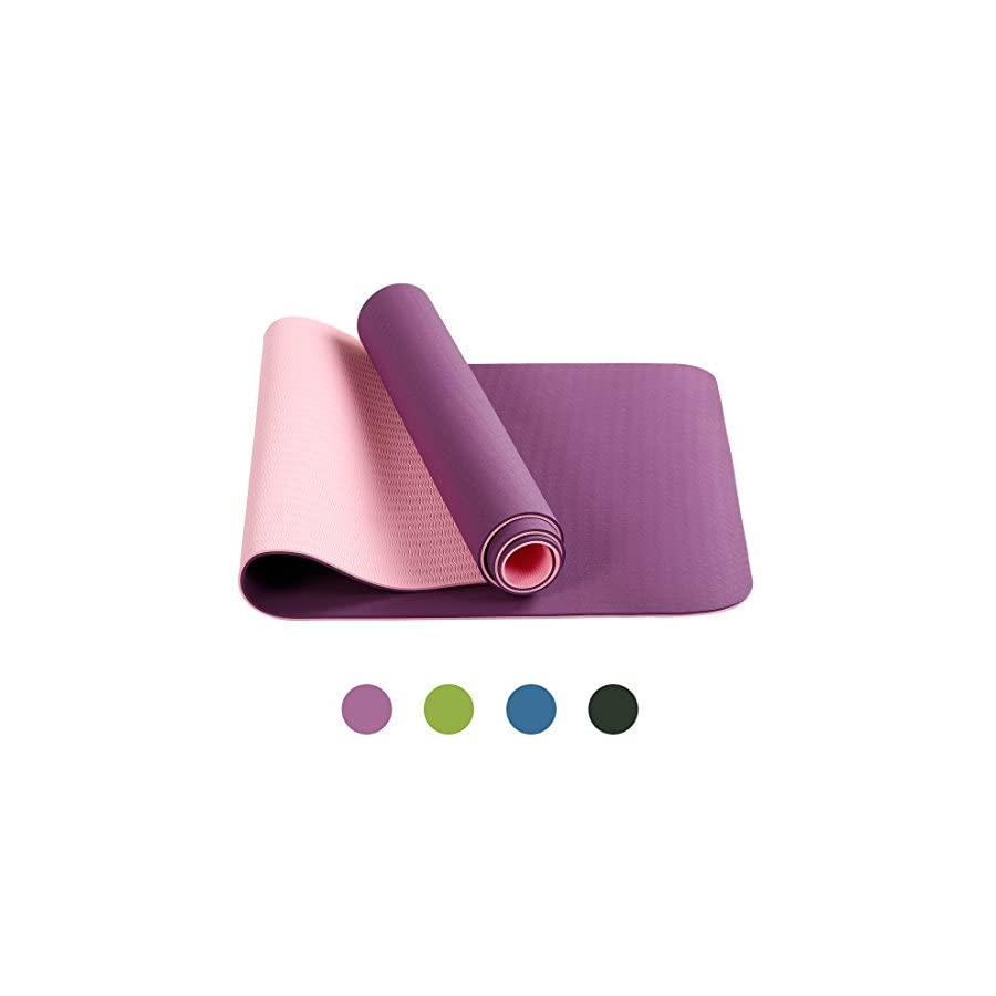 BLC Anti Tear TPE Yoga Mat lightweight Anti slip 6mm Premium Exercise Mat for Yoga Fitness and GYM Workout with Carrying Strap