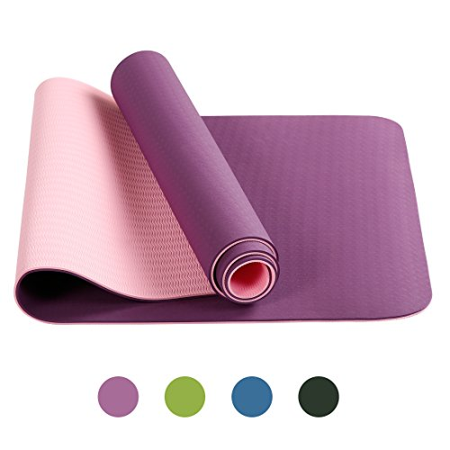 Warm Harbor All-Purpose Yoga Mat Extra 6mm Thick High Density Anti-Tear Exercise Mats for GYM with Carrying Strap (Pink-Purple)