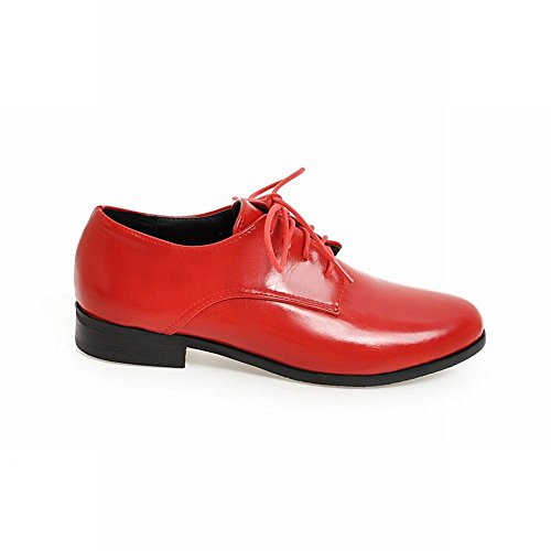 Show Shine Womens Casual Lacing Up Chunky Heel Oxfords Shoes Red gsCkD