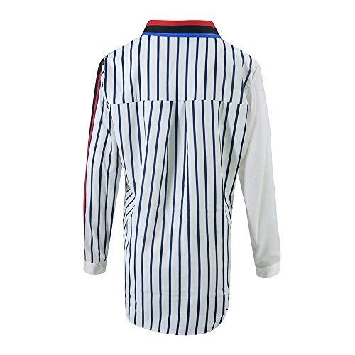 Tops Grande Chemise Blouse Weant Col Chemisiers Shirt C Tee Taille Femme Ray Blouse Shirt Blouses et Femme V Femme Multicolor Manche Casual Longue Imprim 04navnXq