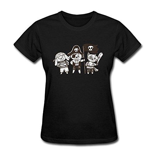 Donne Pirati manicotto Del T shirt Tee Nera Piccoli Bicchierino Delle Grafica Animali Beseon fq6EII