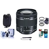 Canon EF-S 18-55mm f/4-5.6 IS STM Lens, (0.25m) Closest Focusing Distance - Bundle With 58mm Filter Kit, Lens Pouch, Cleaning Kit, Capleash II, Software Package