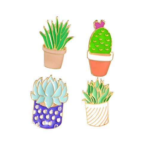 el Brooch Pins Set for Unisex Child Women's Clothing Decorate (4pcs Cactus Set) ()