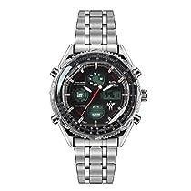 LEAP X PIONEERS Mens Military Water Resistant Dual Display Wrist Watch Stainless Steel Strap LPB130