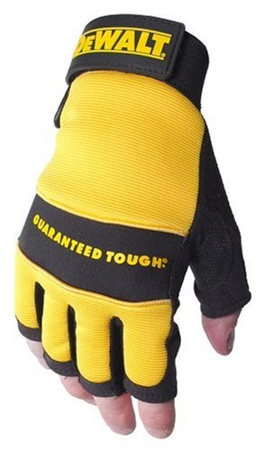 Dewalt DPG23L Fingerless Synthetic Leather Palm Work Glove with Spandex Back Velcro Wrist, Large Dewalt Leather