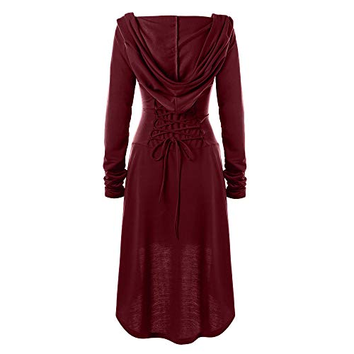 Long Dress Cloak Hooded Vintage Pullover for Women Costumes Lace Up High Low Bandage
