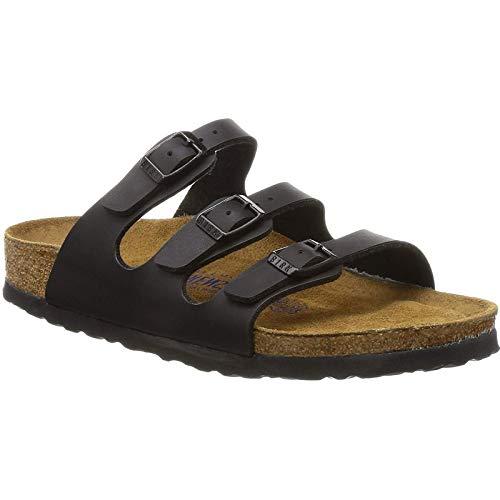 Birkenstock Women's Florida Soft Footbed Birko-Flor  Black Sandals - 37 N EU / 6-6.5 2A(N) US - Sandals Narrow Strap