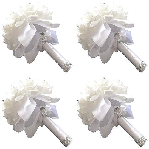 StillCool Wedding Bouquets, Crystal Pearl Silk Roses Bridal Bridesmaid Wedding Hand Bouquet Artificial Fake Flowers (18cm x 24cm, 4 Pack Pure-white)