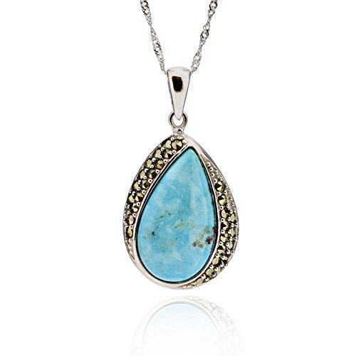 GemsChest Sterling Silver Pear Blue Kingman Turquoise & Marcasite Pendant Necklace 17