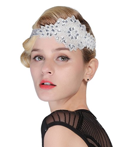 FAIRY COUPLE Art Deco 1920s Flapper Headband Rhinestone Applique Beaded Headpiece Silver - Head Applique