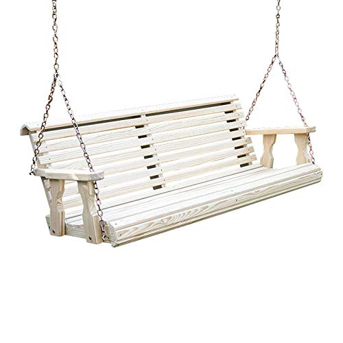 Amish Heavy Duty 800 Lb Roll Back Treated Porch Swing With Hanging Chains 4 Foot, Unfinished